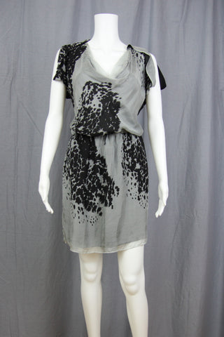 ABSTRACT PRINT SILK DRESS