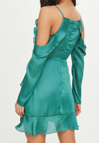 FLIRTY SATIN WRAP DRESS