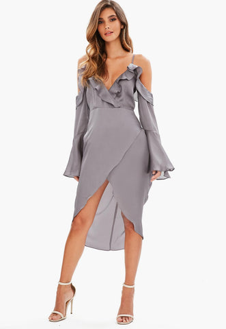 FLIRTY SATIN WRAP MIDI DRESS WITH FLARED SLEEVES