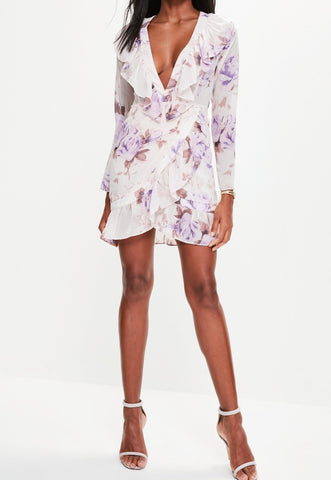 FLORAL FRILL WRAP DRESS