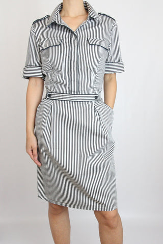 SHORT SLEEVE PINSTRIPE DRESS