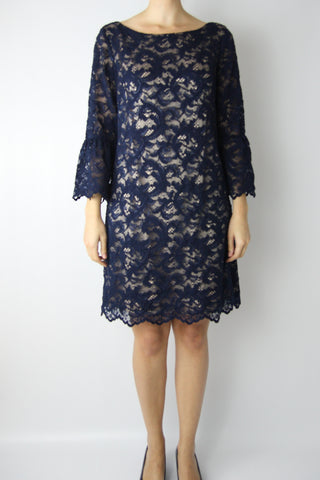 LACE DRESS WITH RUFFLE SLEEVE