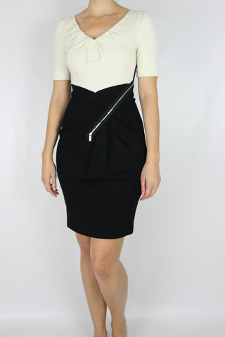 SHORT SLEEVE DRESS WITH CONTRAST ZIPPERED SKIRT