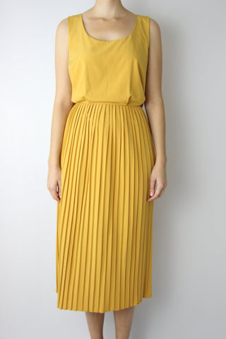 MIDI DRESS WITH PLEATED SKIRT