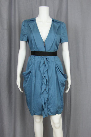 DRESS WITH ZIPPERED RUFFLE FRONT