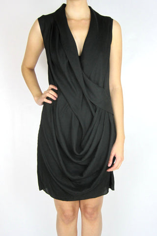 FAUX WRAP PLEATED DRESS