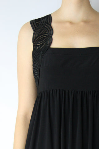 EMPIRED DRESS WITH EMBROIDERED STRAP