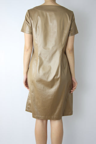 LEATHER-LIKE SHIFT DRESS