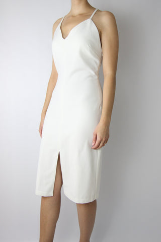 V-NECK DRESS WITH FRONT SLIT