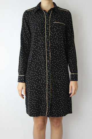 POLKA DOT PAJAMA SHIRT DRESS