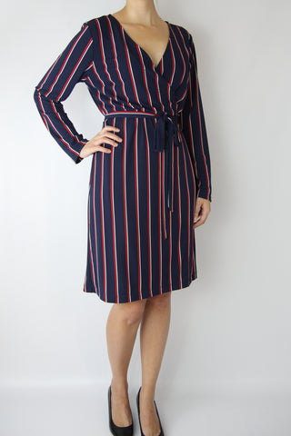LONG SLEEVE STRIPE WRAP DRESS