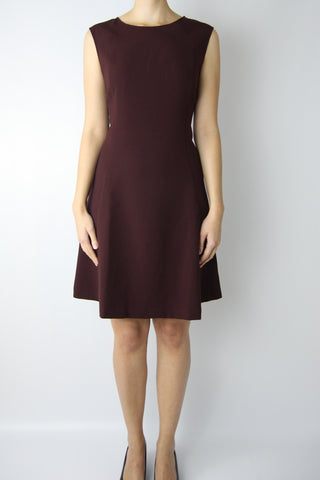 JERSEY SKATER DRESS WITH FAUX LEATHER BRAID SIDE