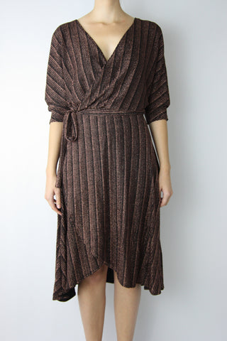 METALLIC COPPER WRAP KNIT DRESS