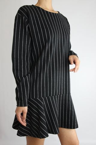 PINSTRIPE KNIT FLARE DRESS