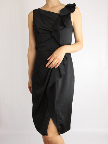 PLEATED RUFFLE SATIN DRESS