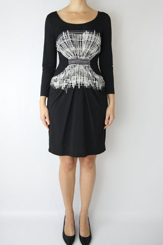 LONG SLEEVE GRAPHIC JERSEY DRESS