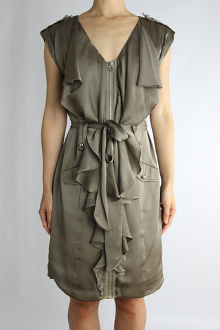 RUFFLED MILITARY ZIP DRESS