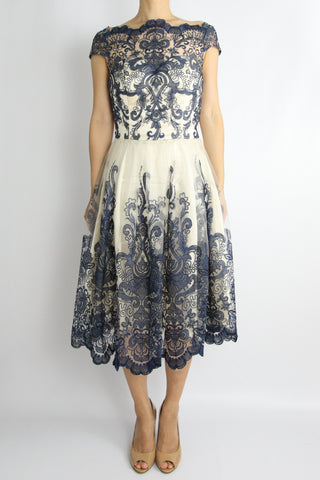 EMBROIDERED LACE TULLE DRESS