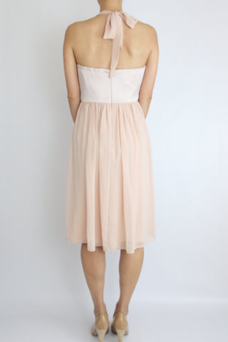 CHIFFON HALTER DRESS WITH SATIN WAISTBAND
