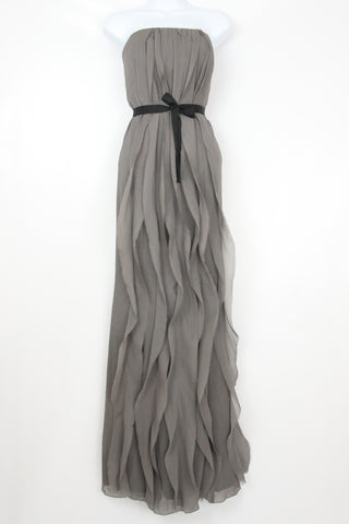 CRINKLE CHIFFON GOWN WITH CASCADING RUFFLES