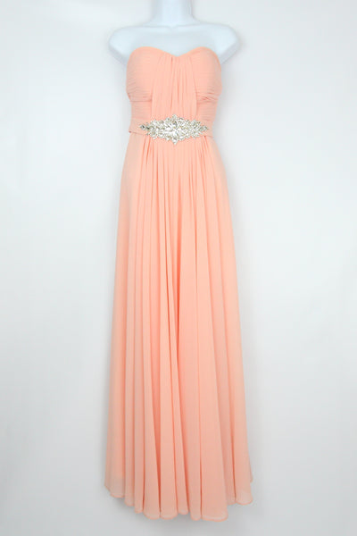 STRAPLESS GOWN WITH CRYSTAL WAISTBAND