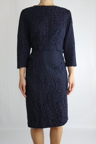 3/4 SLEEVE BOAT NECK LACE DRESS