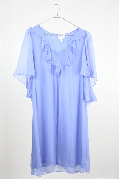 BUTTERFLY SLEEVE SILK DRESS