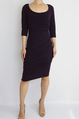 ELBOW SLEEVE RUSCHED JERSEY DRESS