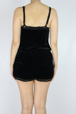 LACE TRIM VELOUR PLAYSUIT
