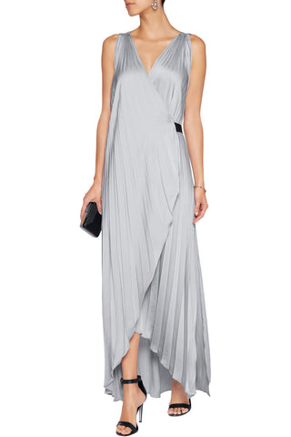 Satin Plissé Wrap Dress
