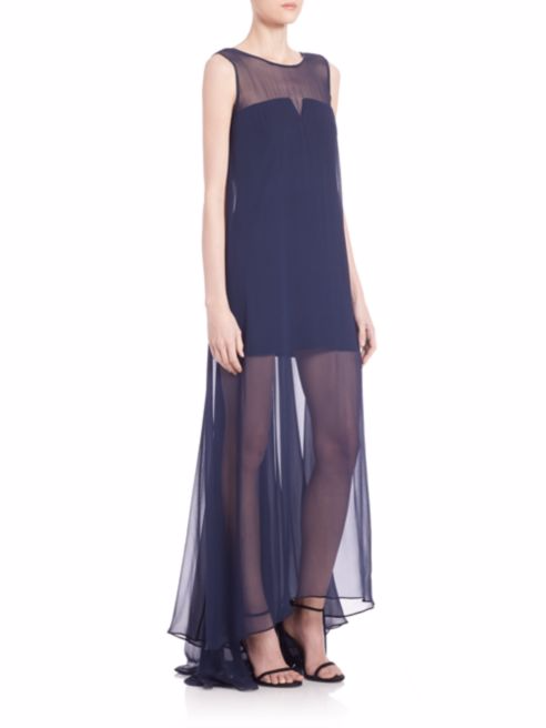 Charlene Silk Chiffon Illusion Gown