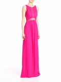 LATTICE BODICE EVENING GOWN