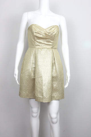 STRAPLESS SILK METALLIC DRESS