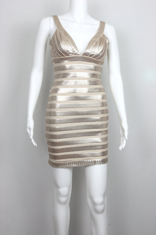 SEQUIN STRIPE V-NECK BODYCON DRESS