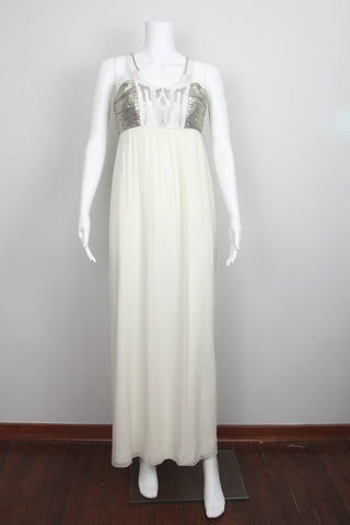 Embroidered Halter Goddess Gown