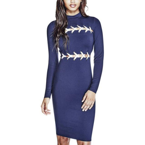 LONG SLEEVE BODYCON WITH LACE UP BODICE