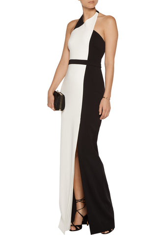 Color Block Halterneck Gown