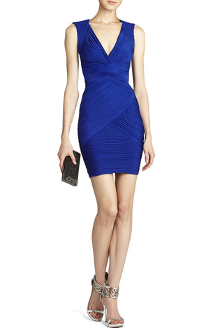 'EDESA' SHIRRED V-NECK COCKTAIL DRESS