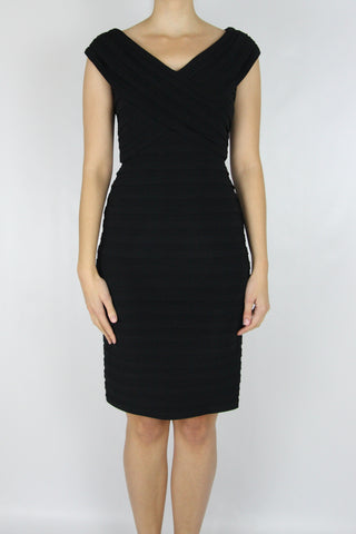 V-NECK PLEATED BODYCON DRESS