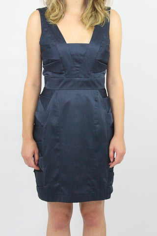 NAVY BODYCON SATIN DRESS WITH PLEATED SIDES