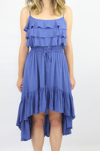 SPAGHETTI STRAP FLOUNCE DRESS WITH HI-LO HEM