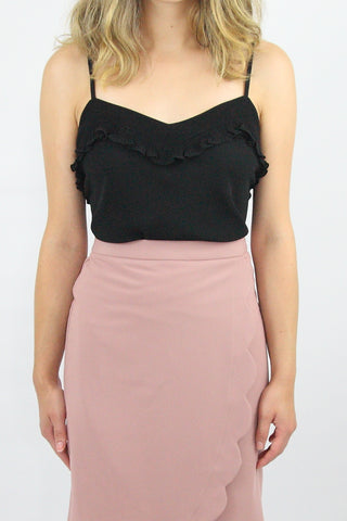 CHIFFON TANK WITH RUFFLE NECK