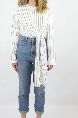 LONG SLEEVE STRIPE TUNIC WITH CROSSOVER TIE