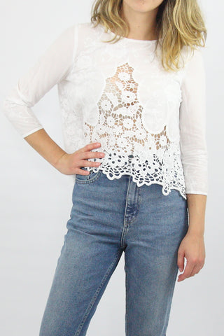3/4 SLEEVE CROCHET PEEKABOOK TOP
