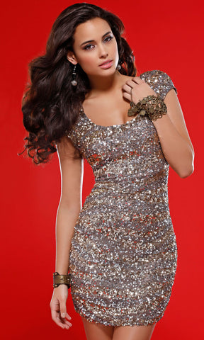 METALLIC SEQUIN MINIDRESS