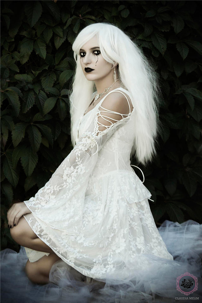 9495f654197 New gothlolibeauty photo of DW053WH gothic lace tail dress by Constança  Branco