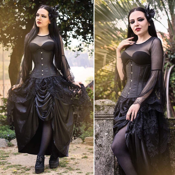 TW098 Gothic Dark poetry feel lace T-shirt