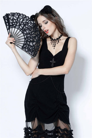 Gothic black hollow out lace fan AFN002 - Gothlolibeauty