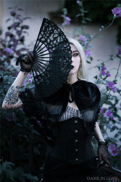 AFN002 Gothic black hollow out lace fan