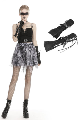 Punk tie up ripped gloves AGL008